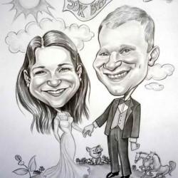 esküvői karikatúra