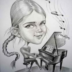 karikatúra zongorista